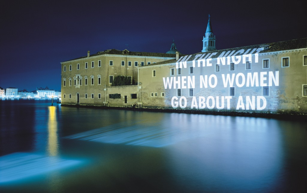 Jenny Holzer, Xenon for Venice, 1999. | © 1999 Jenny Holzer, member Artists Rights Society (ARS), NY Photo: Attilio Maranzano