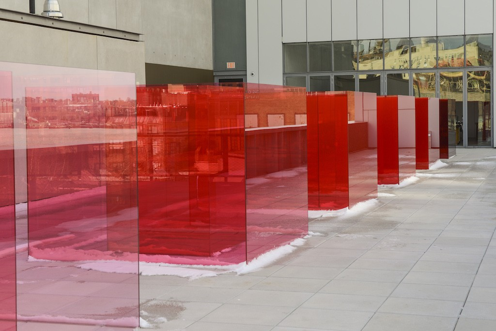 Installation view of Larry Bell, Pacific Red II, 2017. Whitney Biennial 2017, Whitney Museum of American Art, New York, March 13-June 11, 2017. Collection of the artist; courtesy Hauser Wirth & Schimmel, Los Angeles. Photograph by Matthew Carasella.