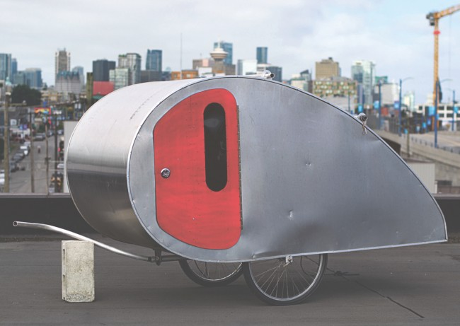 Bicycle Teardrop Trailer, Matthew Hart Designs, Canada. Aluminium, polystyrene insulation, plywood, steel framing, bicycle wheels | © Phoenix Alexander Simon