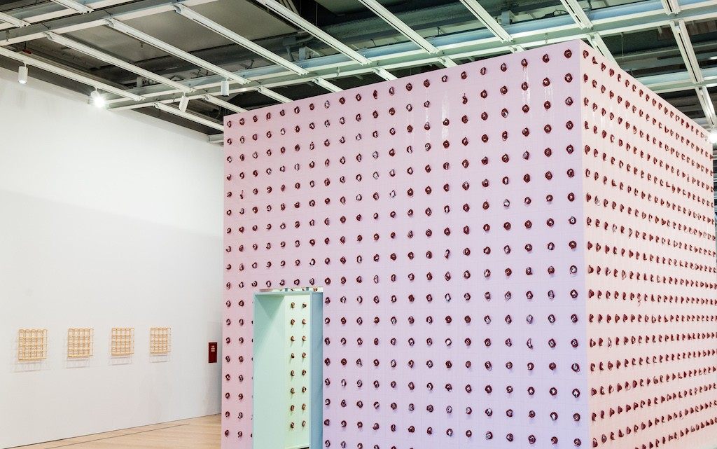Installation view of Pope.L aka William Pope.L, Claim (Whitney Version), 2017. Whitney Biennial 2017, Whitney Museum of American Art, New York, March 13-June 11, 2017. Collection of the artist; courtesy Mitchell-Innes & Nash, New York. Photograph by Matthew Carasella.