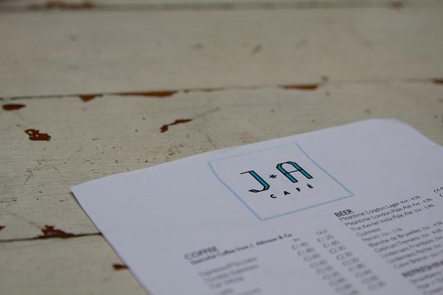 Menu at J+A Cafe