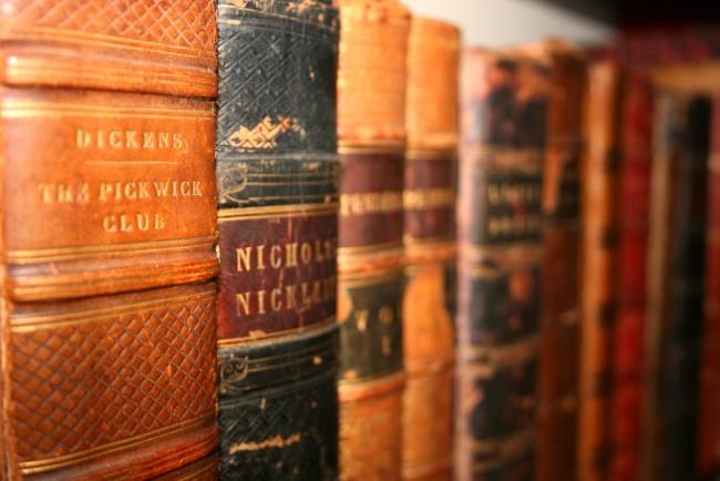 A row of Antique books