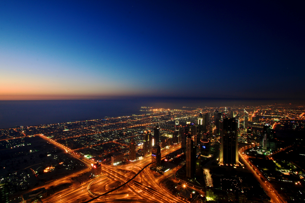 View of Dubai at night from the Burj Khalifa | © elisasophia / Flickr