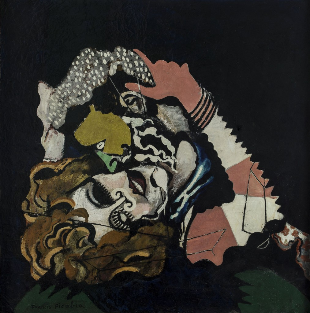 Francis Picabia (French, 1879–1953). Les Amoureux (Après la pluie) (The Lovers [After the Rain]). 1925. Enamel paint and oil on canvas, 45 11/16 x 45 1/4″ (116 x 115 cm). Musée d'Art moderne de la Ville de Paris. © 2016 Artists Rights Society (ARS), New York/ADAGP, Paris. Photo: © Musée d'Art Moderne/Roger-Viollet