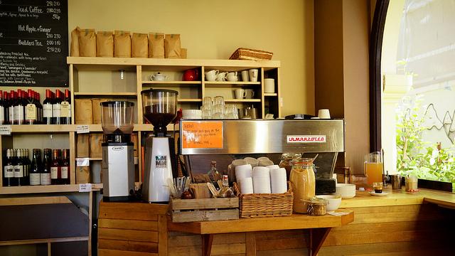 Coffee bar at Fleet River Bakery