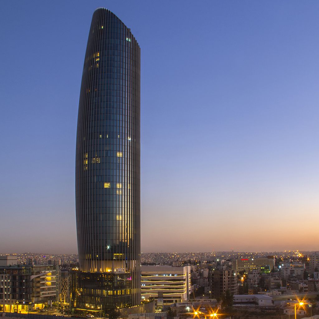 Amman Rotana Exterior at Sunset