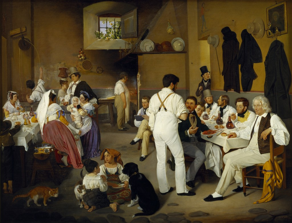 Ditlev Blunck, Danish artists at the Osteria La Gensola in Rome, 1837, Thorvaldsens Museum