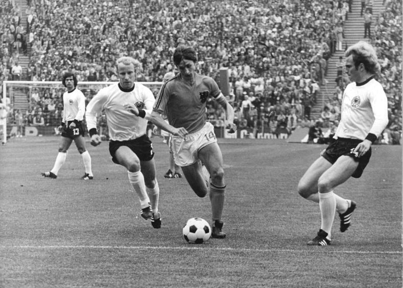 Just about to win a penalty in the first minute of the 1974 World Cup final. | wikipedia.org