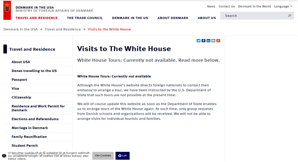 Danish Embassy webstite statement about White House tours