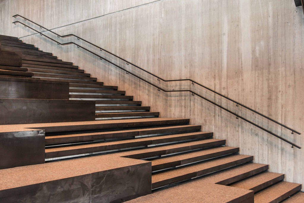 A special wide staircase is divided down the middle to serve both walking and lounging purposes   courtesy of De Krook