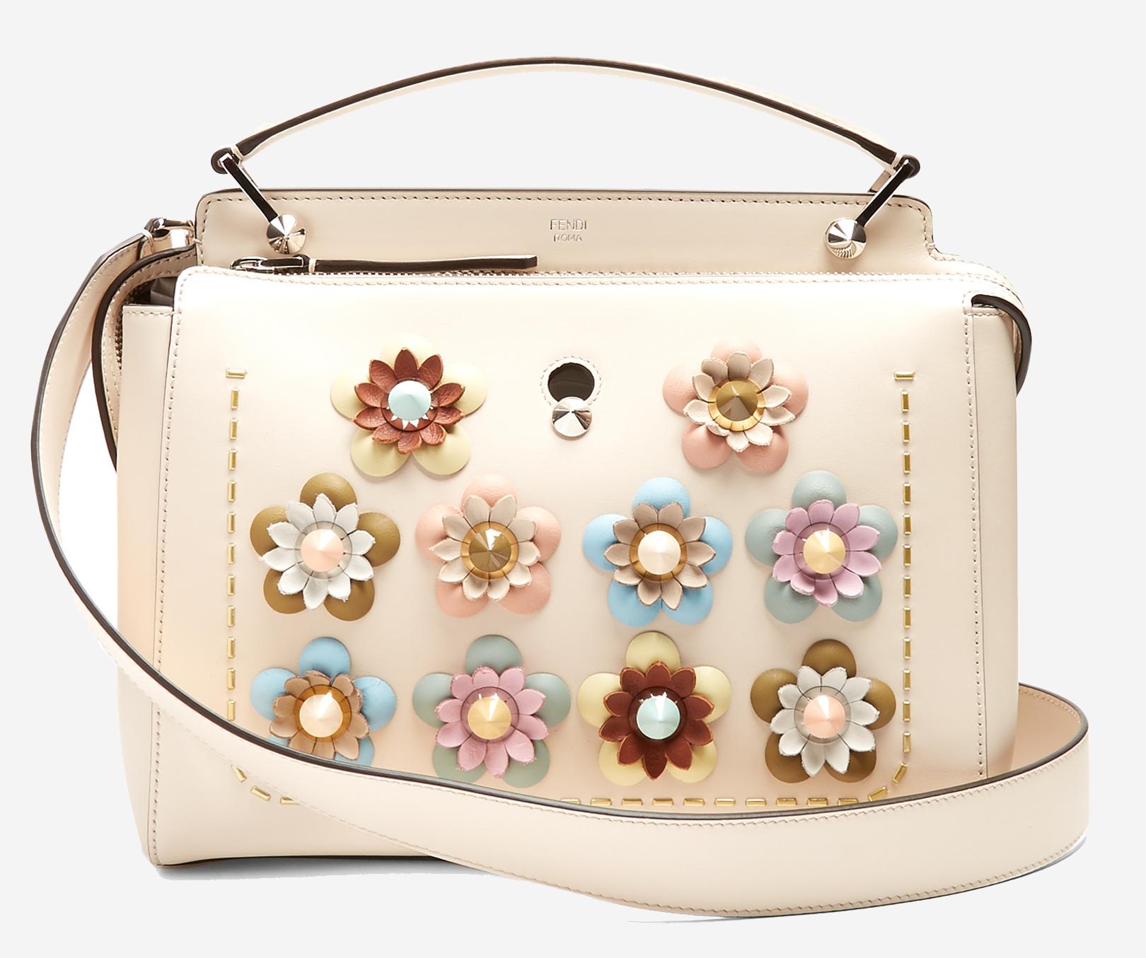 Fendi Dotcom flower-appliqué leather bag