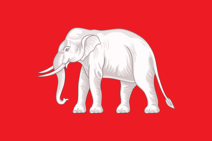 """The White Elephant Flag"" Thai national flag, 1855-1916 | Sodacan / Wikimedia Commons"