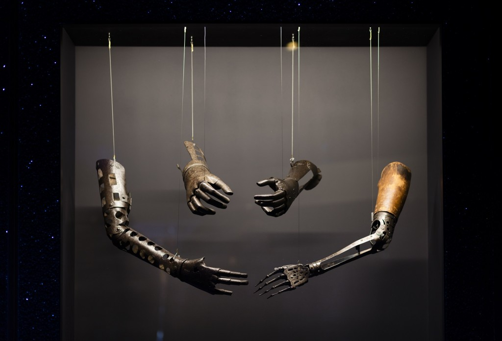 Four prosthetic arms in the Robots exhibition © Plastiques Photography, courtesy of the Science Museum
