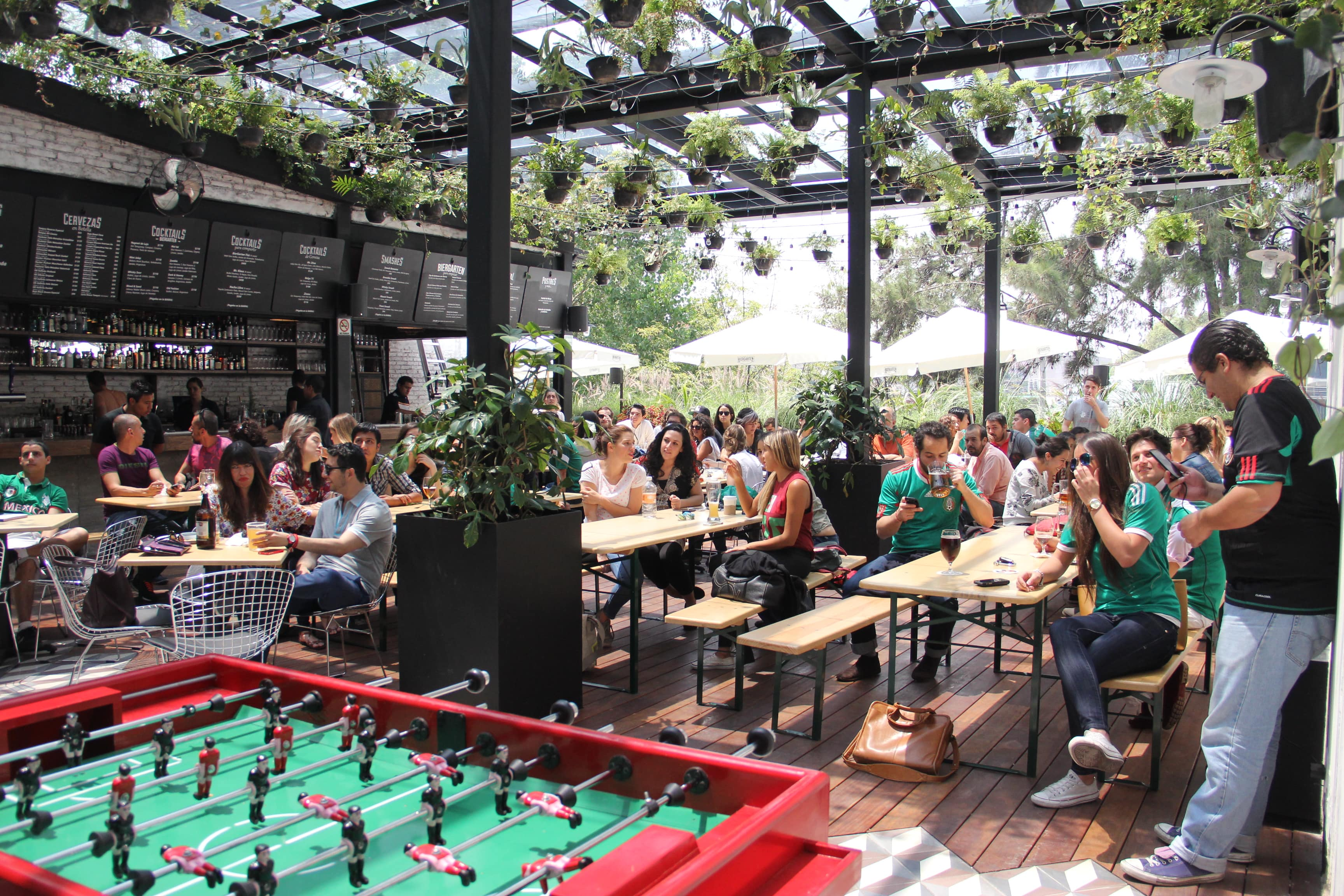Biergarten Roma and their famous foosball tables | Courtesy of Biergarten Roma