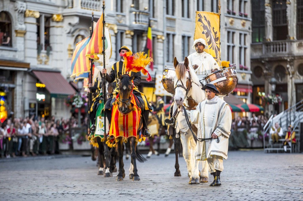 Ommegang paraders strutting down Brussels' Grand Place | courtesy of visitbrussels.be