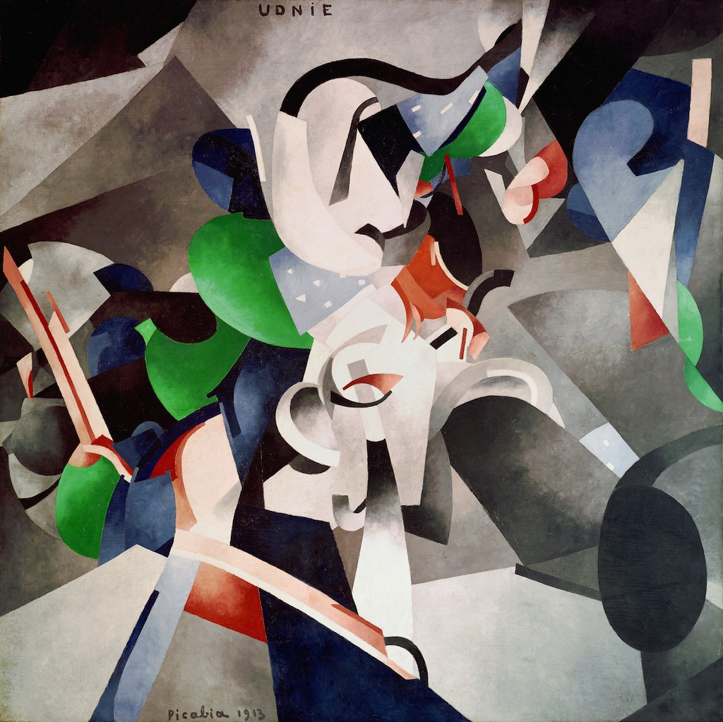 Francis Picabia. Udnie (Jeune fille américaine; danse) (Udnie [Young American Girl; Dance]). 1913. Oil on canvas, 9′ 6 3/16″ × 9′ 10 1/8″ (290 × 300 cm). Centre Pompidou, Musée national d'art moderne – Centre de création industrielle, Paris. Purchased by the State, 1948. © 2016 Artist Rights Society (ARS), New York/ADAGP, Paris. Photo: © Centre Pompidou, MNAM-CCI/Georges Meguerdtchian/Dist. RMN–Grand Palais/Art Resource, New York.