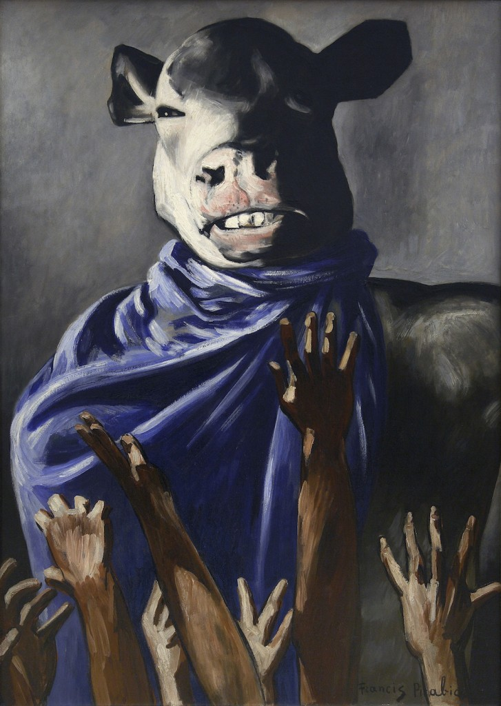 Francis Picabia. L'Adoration du veau (The Adoration of the Calf). 1941–42. Oil on board, 41 3/4 × 30″ (106 × 76.2 cm). Centre Pompidou, Musée national d'art moderne – Centre de création industrielle, Paris. Purchase with assistance from the Fonds du Patromonie, the Clarence Westbury Foundation, and the Societé des Amis du Musée national d'art moderne, 2007. © 2016 Artist Rights Society (ARS), New York/ADAGP, Paris. Photo: © Centre Pompidou, MNAM-CCI/Philippe Migeat/Dist. RMN–Grand Palais/Art Resource, New York.