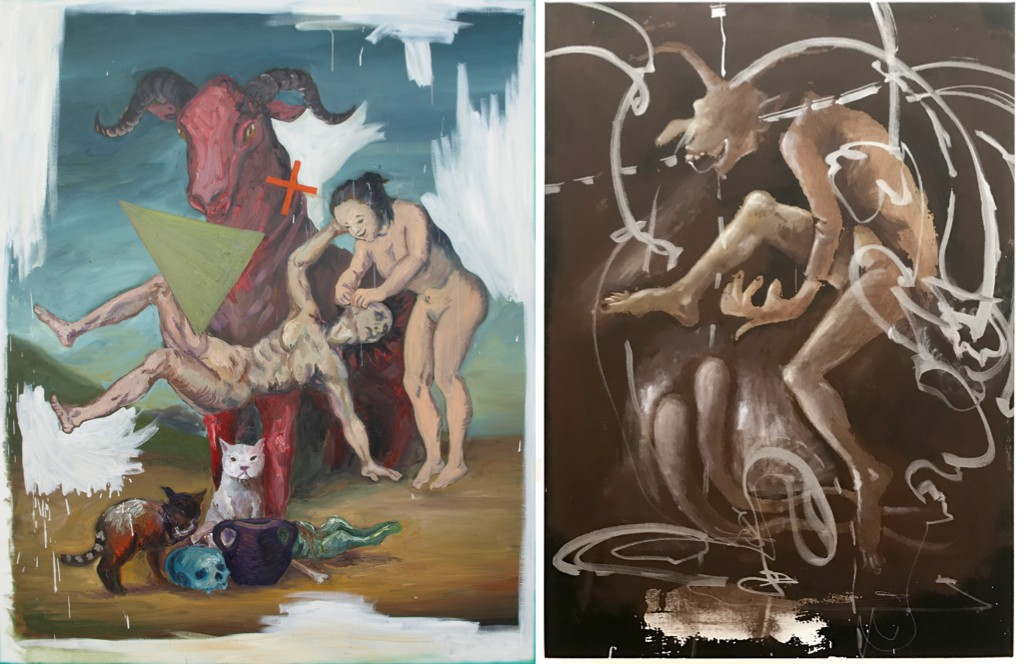 "Manuel Ocampo, ""Painting As A Monument To Aesthetic Misfortune"" (left), Manuel Ocampo and Irine Ire, ""Demons Dance Alone""