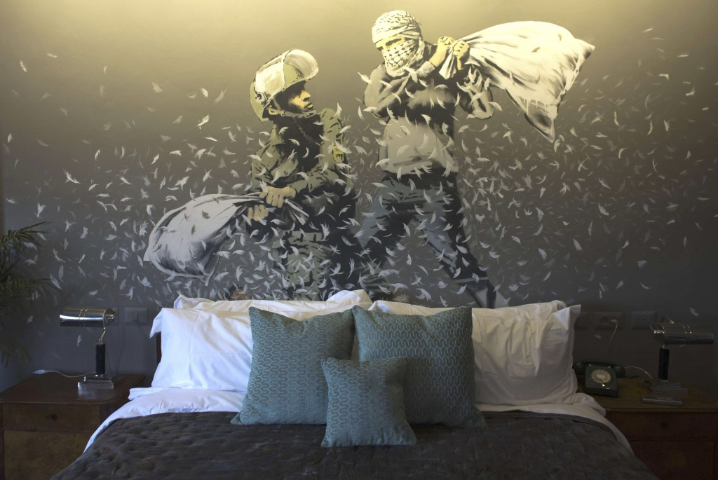 Art installations by graffiti artist Banksy in the lobby of the 'The Walled Off Hotel' in the West Bank city of Bethlehem | Photo by Heidi Levine/SIPA/REX/Shutterstock