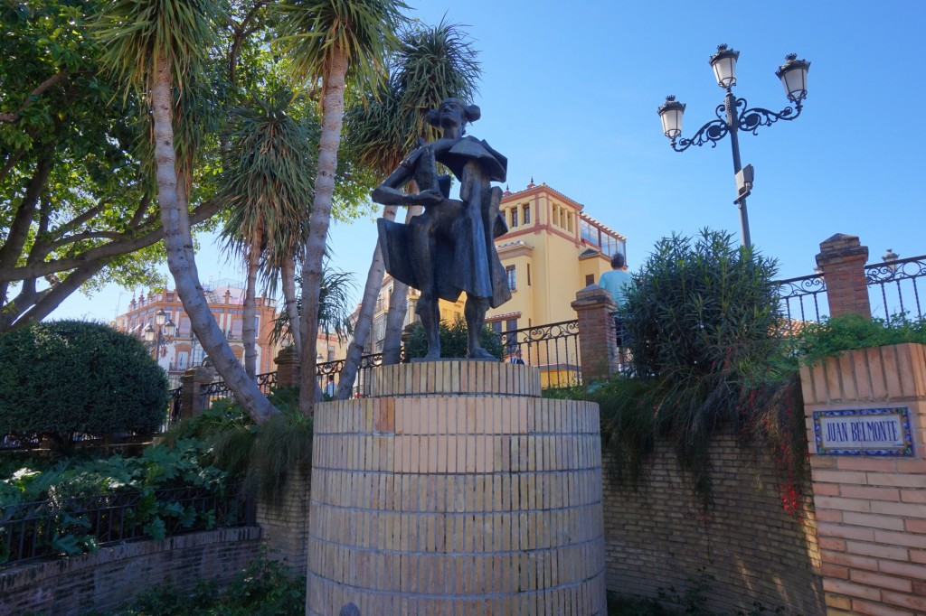 Statue of the great Sevillano bullfighter Juan Belmonte in Seville; Encarni Novillo
