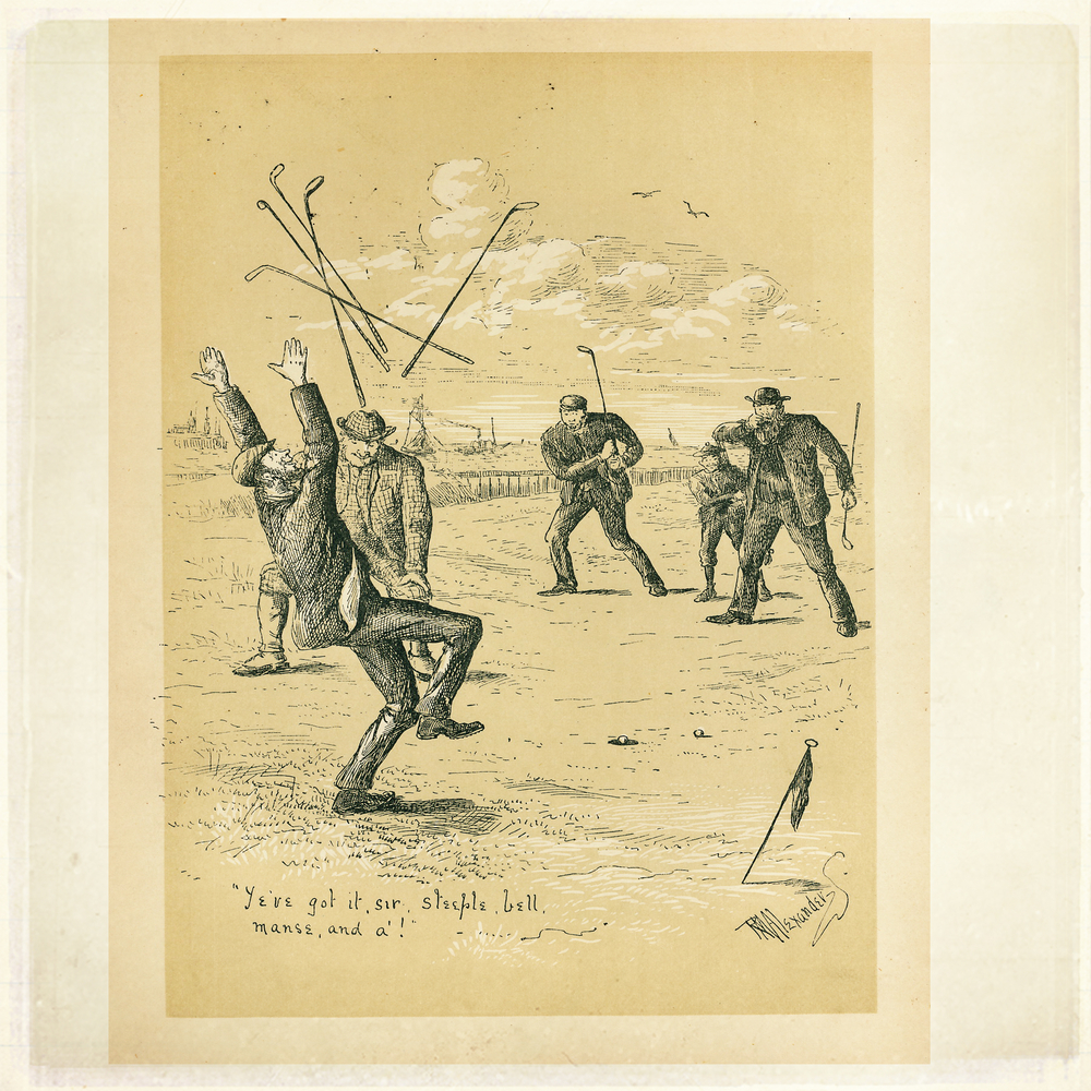 Etching from Golfing - A Handbook to The Royal And Ancient Game published by W&R Chambers Edinburgh and London, 1887 | © Anne Greenwood / Shutterstock