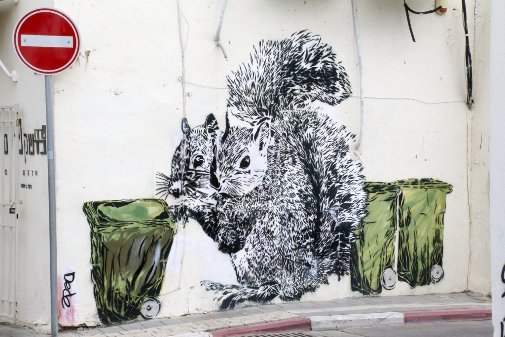 "Tel Aviv wished it had squirrels. In the meantime, we make do with graffiti of classic Tel Aviv trash bins (called ""Toads"") being pushed around by the fuzzy critters 