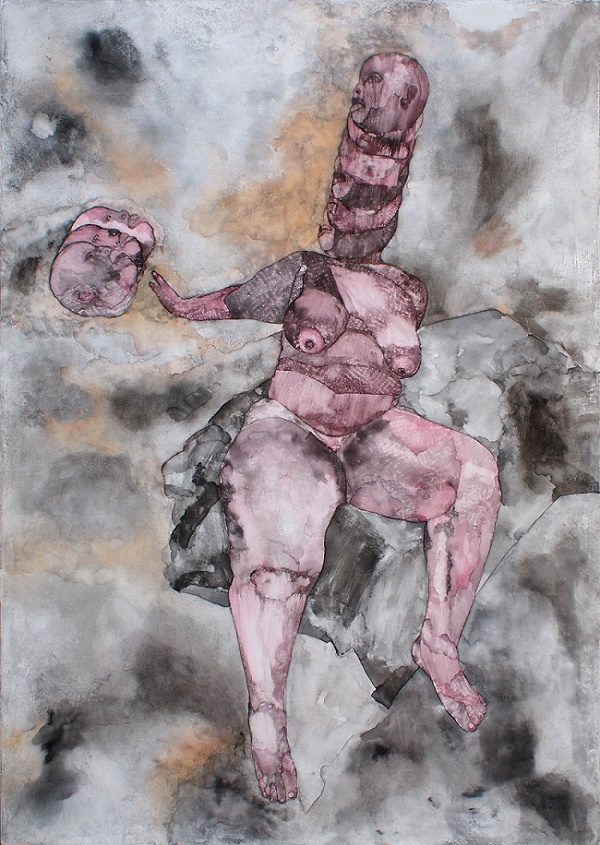 Move in Love, Ink, Charcoal and Oil bar on Canvas 2016 © Florine Demosthene / Courtesy of Gallery MOMO
