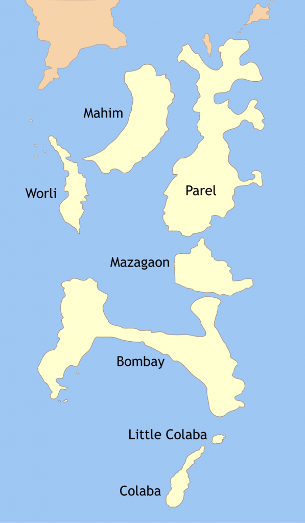 A tour of the 7 islands of mumbai india rough map of the seven islands of mumbaitifr wikicommons gumiabroncs Image collections