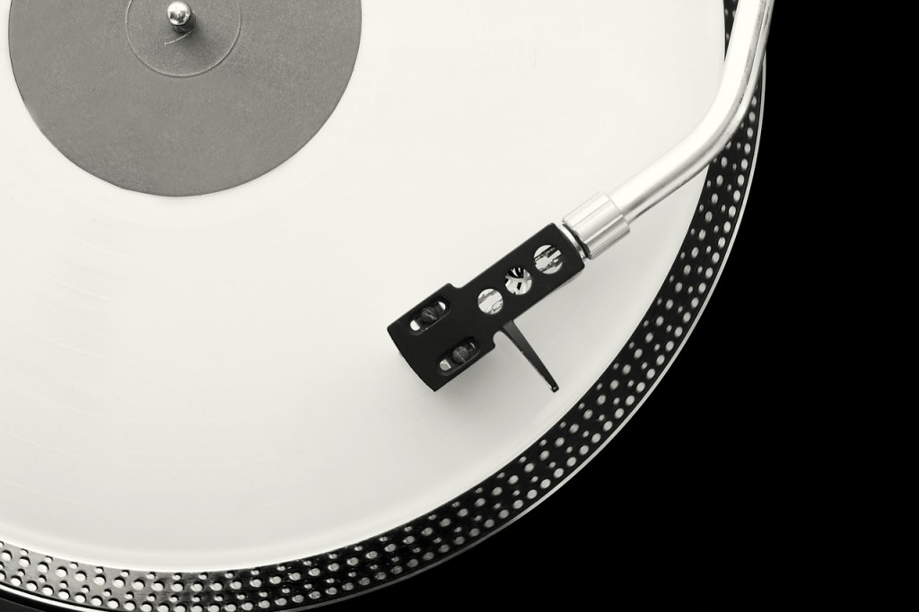 A close up of a turntable