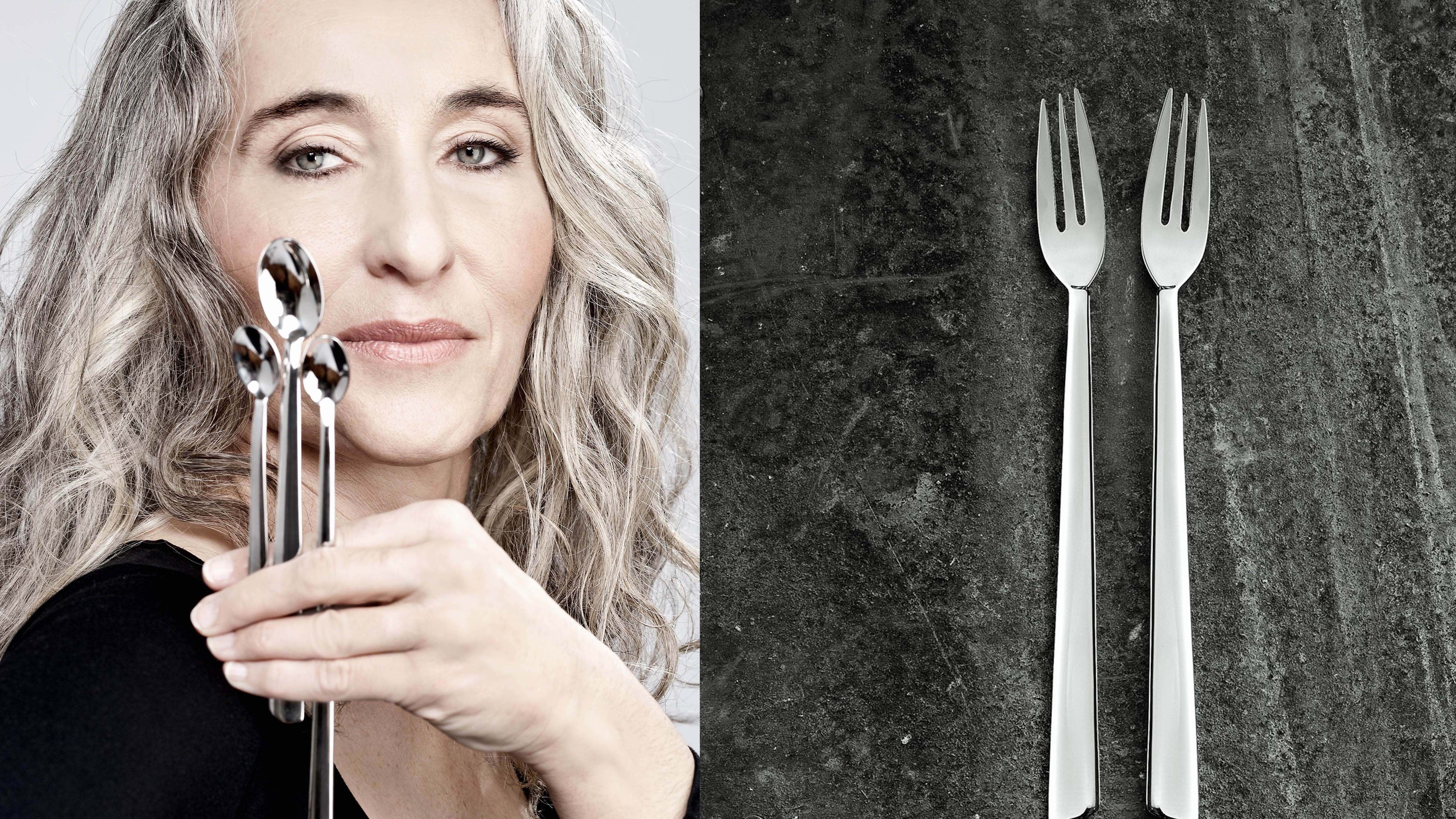 From L to R: Vera Purtscher, designer / Desert spoons | © Christian Postl / Alexander Bayer