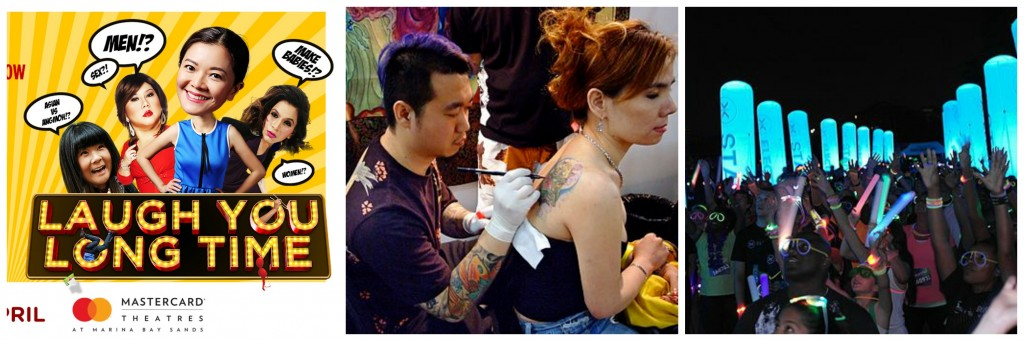 Courtesy of the Marina Bay Sands Theatres | Singapore Tattoo Show/© William Cho/WikiCommons | Electric Run/© S Pakhrin/WikiCommons
