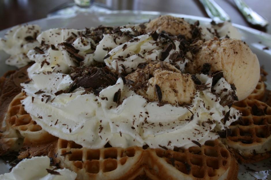 Waffle and ice cream