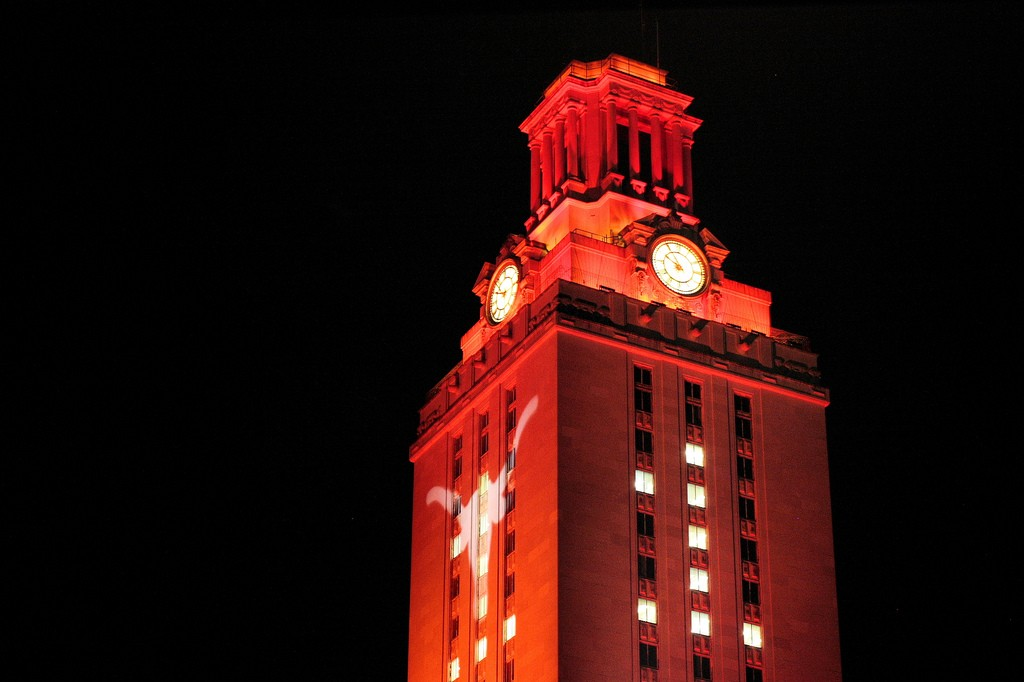 The UT Tower lights orange for sports victories and special ceremonies