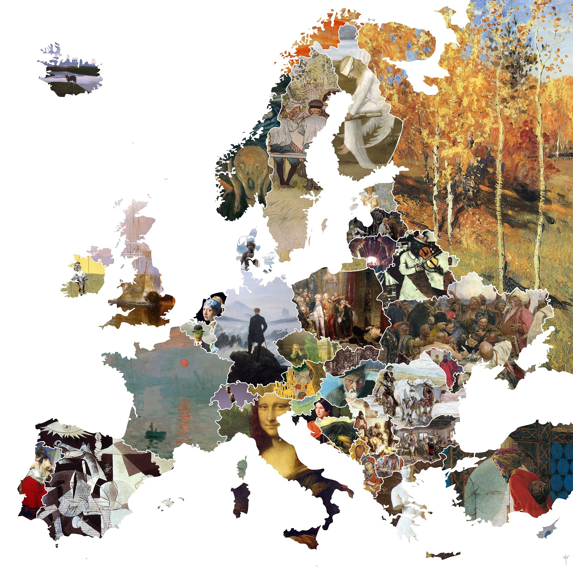 This incredible map shows europes most iconic artworks via reddit gumiabroncs Choice Image