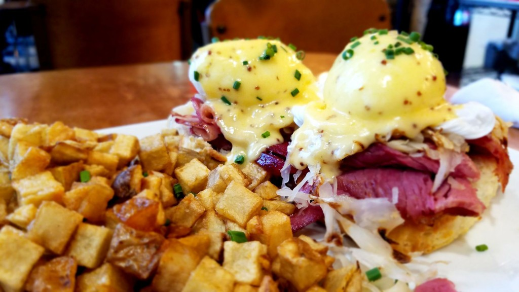 Corned Beef Eggs Benedict, Courtesy of Dime Store