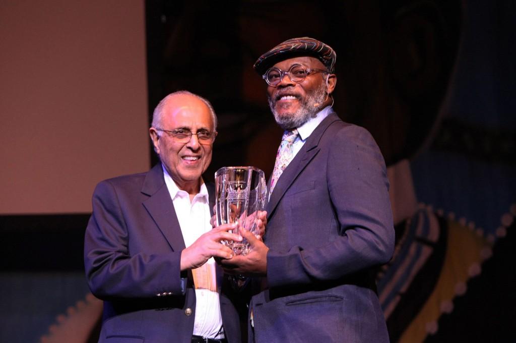 Ahmed Kathrada and Samuel L. Jackson