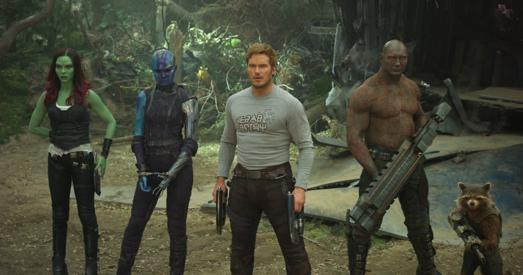 Guardians Of The Galaxy Vol. 2..L to R: Gamora (Zoe Saldana), Nebula (Karen Gillan), Star-Lord/Peter Quill (Chris Pratt), Drax (Dave Bautista) and Rocket (voiced by Bradley Cooper) ..Ph: Film Frame..©Marvel Studios 2017