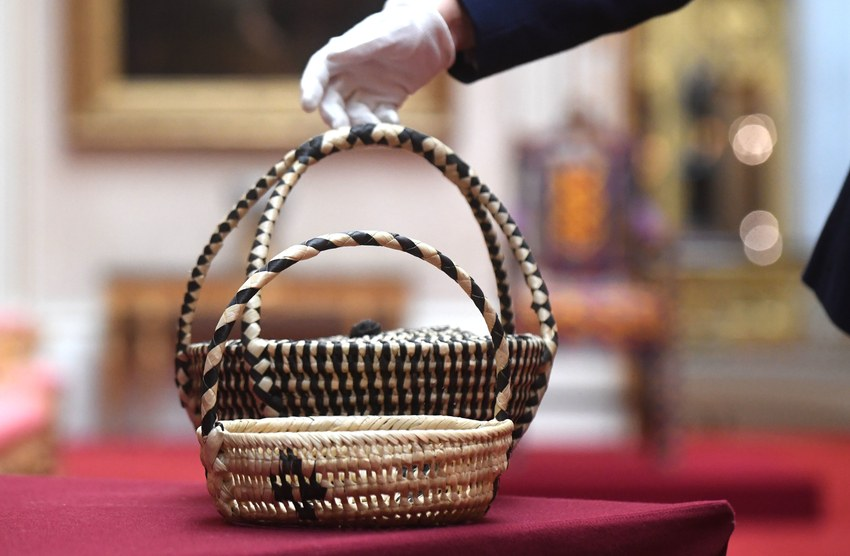 A pair of baskets woven from coconut leaves | © The Royal Collection Trust