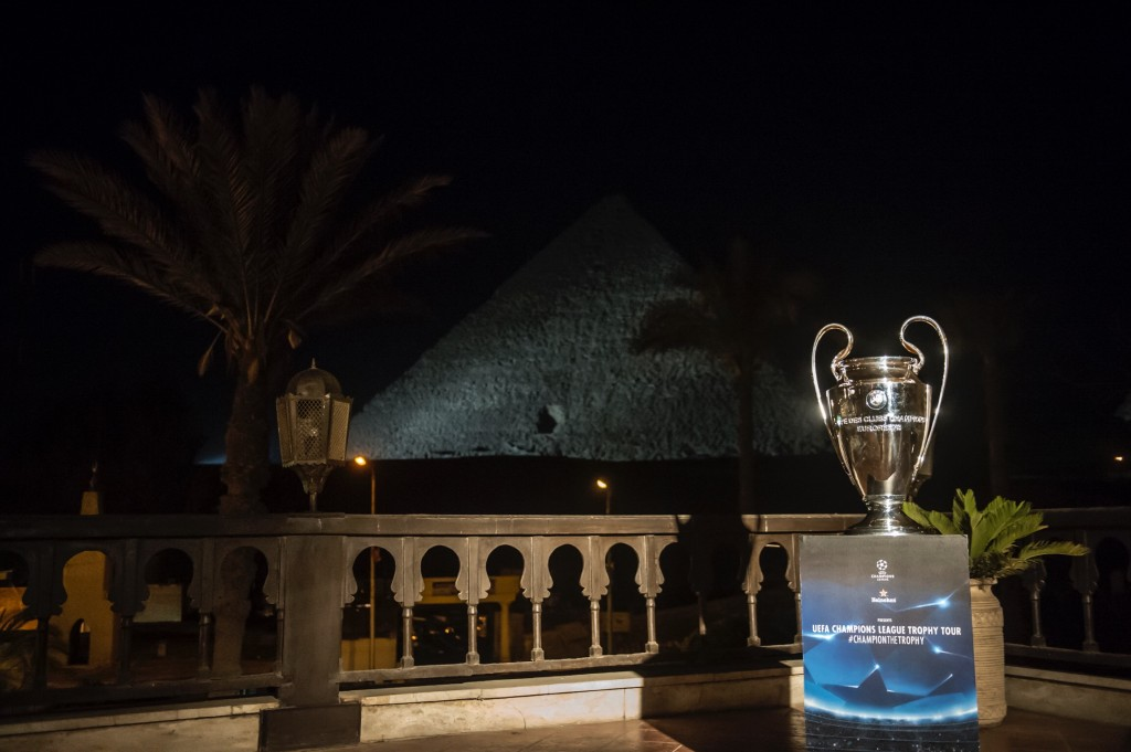 The Champions League trophy in front of the Great Pyramids of Giza | © Getty Images