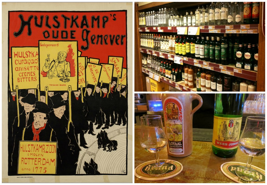 An advertisement for Hulstkamps Oude Jenever by Jacques Zon | © public domain / Jenever bottles at a Dutch off license | © cafuego / flickr / Two glasses of jenever | © MollySVH / flickr