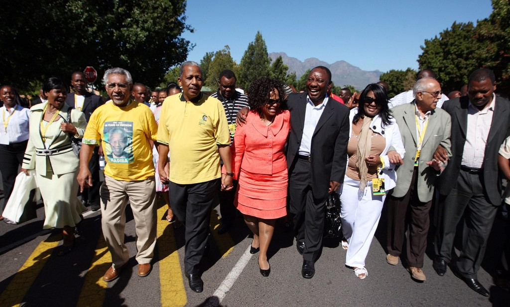 Senior African National Congress leaders lead a Commemorative March