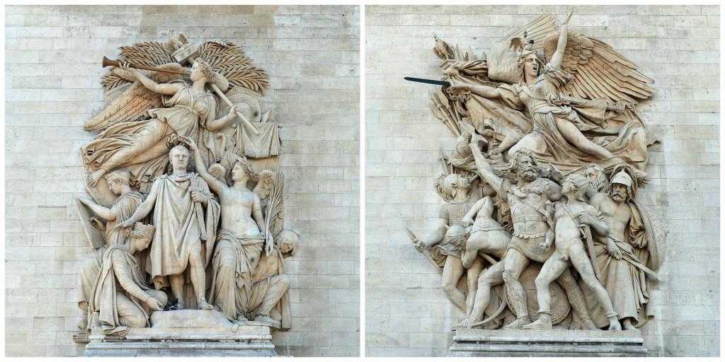 Le Triomphe de 1810 │© Alvesgaspar / Wikimedia Commons ; Le Départ de 1792 by François Rude │© Alvesgaspar / Wikimedia Commons