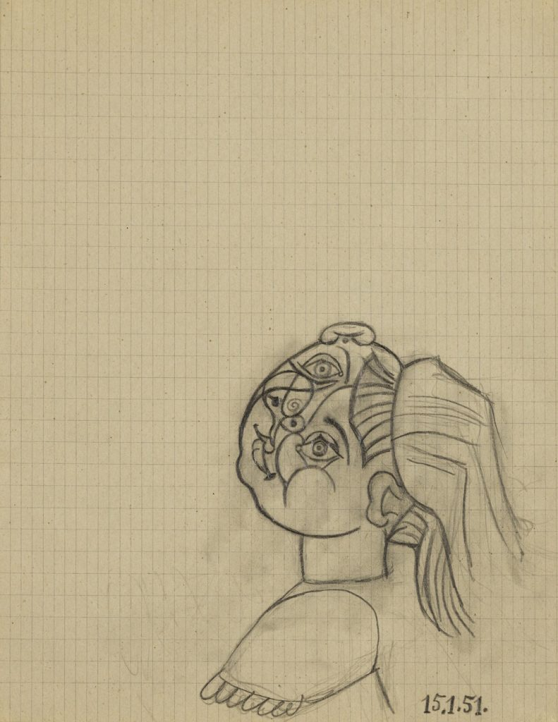 Paloma Dated 15.1.51. (lower right)Pencil on paper 10½ by 8¼ in.; 10.6 by 21 cm Executed on January 15, 1951. Estimate: $25/35,000