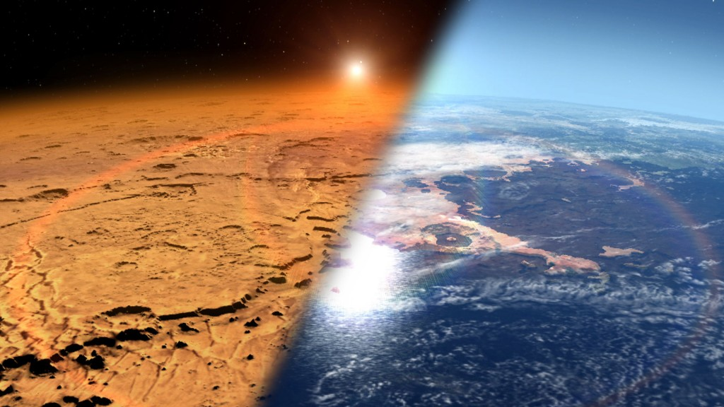 An artist's impression of how Mars may have looked in its early days, compared to now on the left | Courtesy of NASA's Goddard Space Flight Center