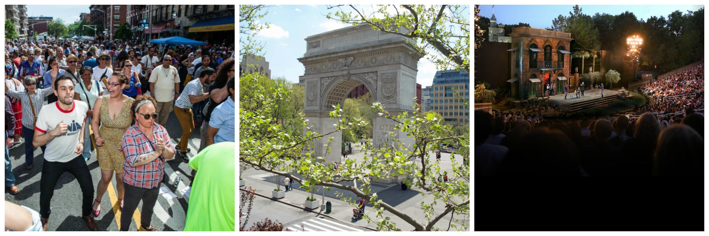 Loisasia Festival | Javier Romero/The Loisaida Festival / Washington Square Park | David Shankbone/WikiCommons / The Delacorte Theatre | The Public Theater