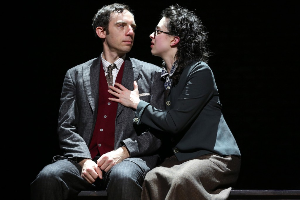 (l-r): Max Gordon Moore as Sholem Asch and Adina Verson as Madje Asch in INDECENT, a new play by Paula Vogel, co-created by Paula Vogel and Rebecca Taichman, and directed by Rebecca Taichman, at the Cort Theatre, 138 West 48th Street. © Carol Rosegg