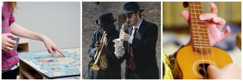 Nathalie Pozzie et Eric Zimmerman, Flatlands │© Dane Sponberg, Courtesy of D'Days ; Jazz musicians │© ahkeemhopkins / Pixabay ; Ukelele │© Tam Tam / Flickr