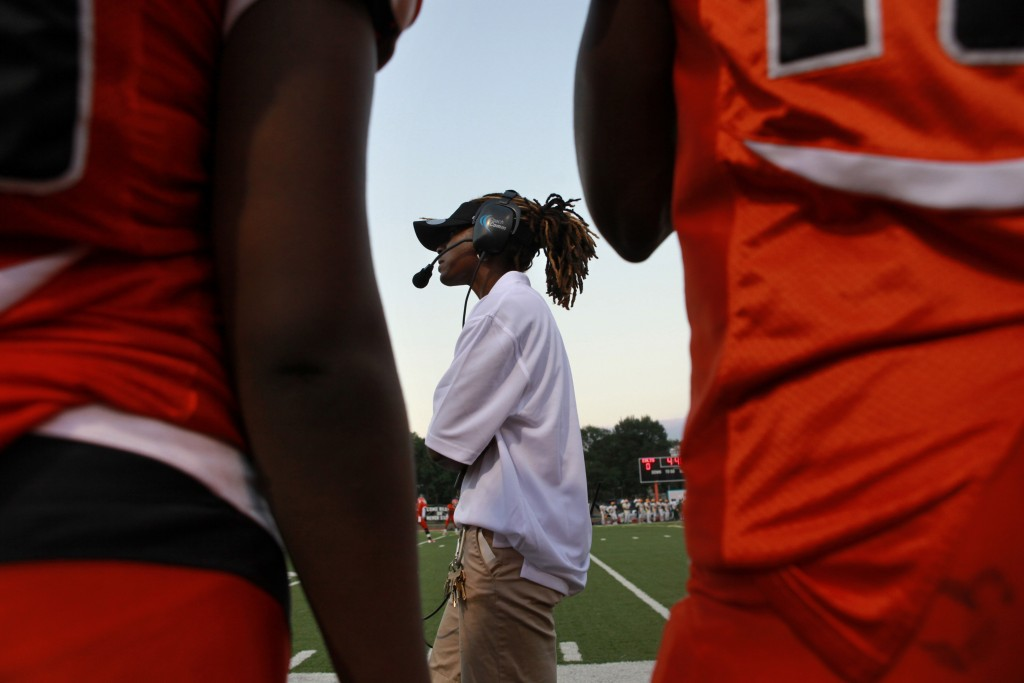 Natalie Randolph walks the sidelines during her first game as Coolidge football coach | © Jacquelyn Martin/AP/REX/Shutterstock