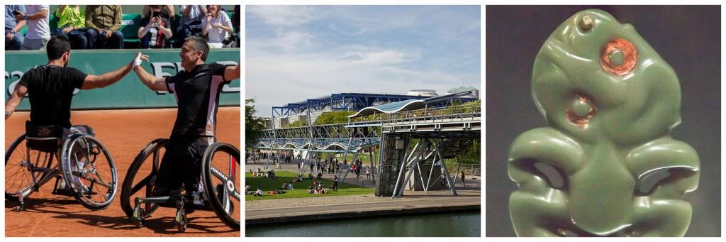 Roland Garros │© Mathys Cresson / Flickr ; Parc de la Villette │© Jean-Marie Hullot / Wikimedia Commons ; New Zealand jade (pounamu) │© Szilas / Wikimedia Commons