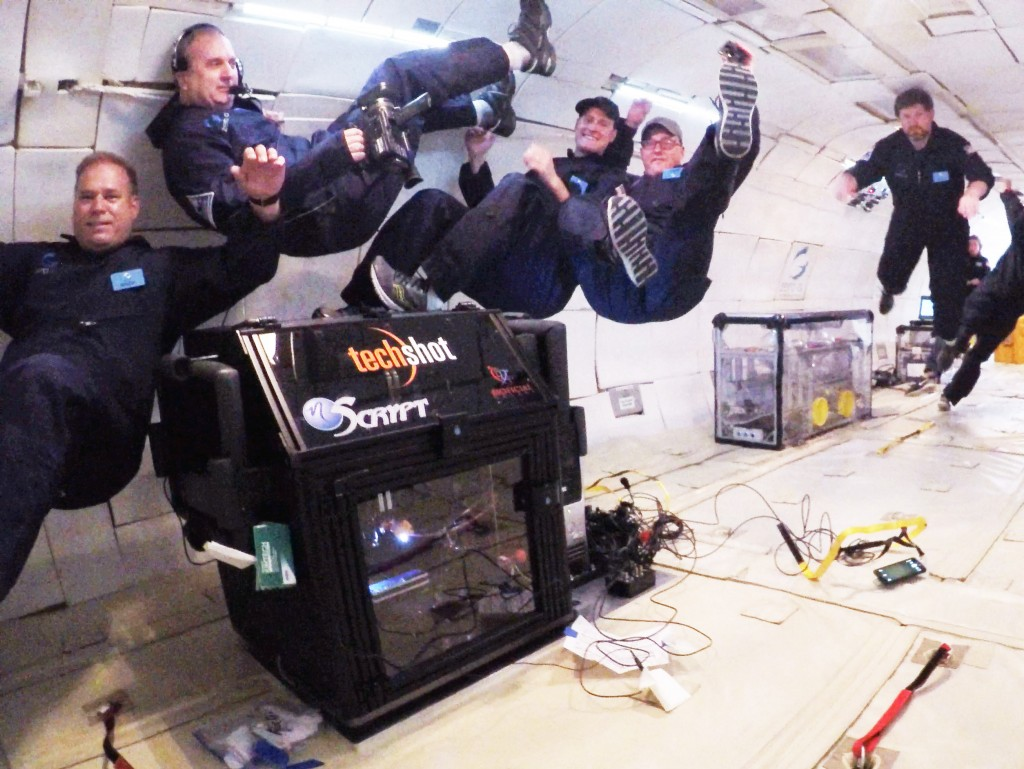 The Techshot 3D printer being tested in zero gravity | Courtesy of Techshot
